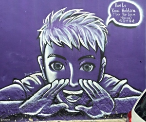 Jim Oo Chun Hee painted the 'boy in purple' ready to teach Hokkien, at Lorong Soo Hong
